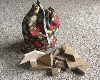 Wooden Building Blocks - 45 Natural Blocks with Drawstring Bag