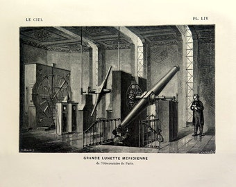1877 Antique Telescope engraving, vintage astronomy print, Astronomical Instruments scientific apparatus plate, Great Lord Rosse telescope.