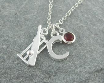 Cricket necklace, cricket fan gift, initial necklace, swarovski birthstone, personalized jewelry, silver chain, sports jewelry