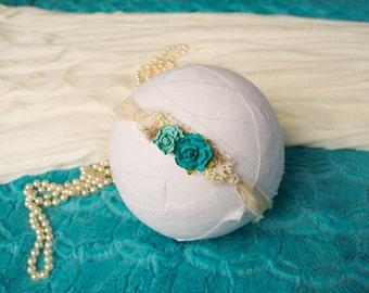 Baby Tieback, Newborn Tieback, Baby Headband, Photo Prop, Turquoise Tieback