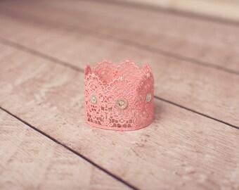 Pink Baby Crown, Lace Crown, Newborn Crown, Baby Crown, Photo Prop