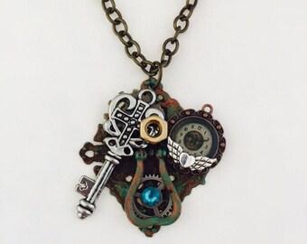 Industrial Door Knocker Necklace Steampunk Ornate Key Clock Face Pendant Steampunk Brass Hex Nut Swarovski Crystal Jewelry