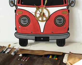 Hippy / Surf Bus decorative wooden wall clock