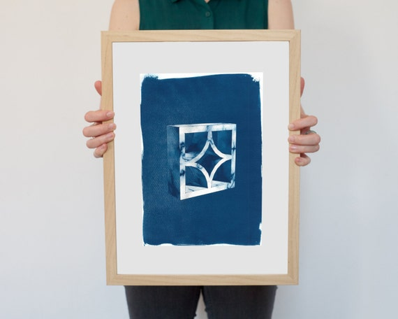 Trendy 3d Screen Block Brick, Cyanotype Print on Watercolor Paper, A4 size