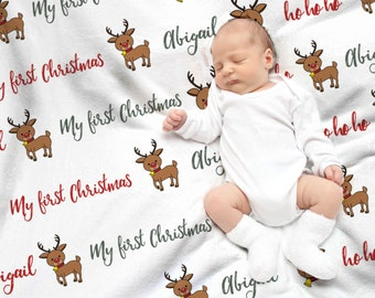 My First Christmas Gift - Baby's First Christmas Blanket - Baby Christmas Gift - Custom Baby Name Blanket - New Baby Christmas Gift