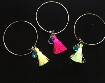 Diffusing Tassel Bangle with Jewel Charm