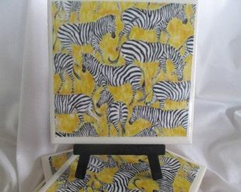 Zebra Ceramic Tile Coasters, yellow coasters, Set of 4, handmade, Drink Coasters,hostess gift, barware, Zebra coasters,Home Decor, Kitchen