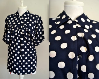 Polka Dot Plus Size Womens Shirt with Long Sleeve Loose Fit Plus Size Shirt Polka Dot Plus Size Blouse Front Button Up Size L Vintage