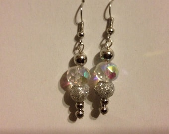 Silver and crystal dangle earrings