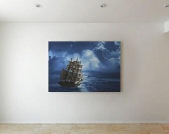 A ship at sea  - Canvas decor