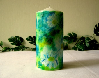Unique hand painted candle