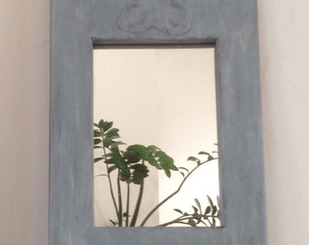 Rustic old mirror french, carved, aged, bleached gray paint