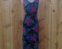 Size Petite Small--90's neon floral crinkled rayon tropical summer dress