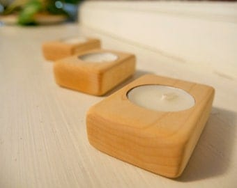 Tea light candle holders - Set of 3 - Maple