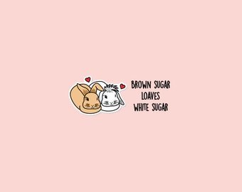 Brown Sugar Loaves White Sugar / Bunny love, Couples, Long Distance Relationship, Planner stickers | B14