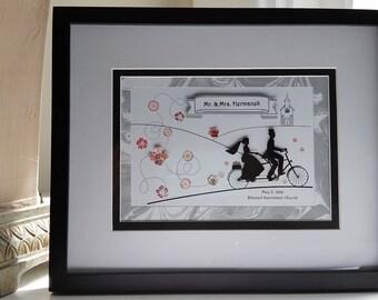 Personalized wedding 3d art, Just married, Custom wedding gift, Going to chapel, Wedding date art, 3d paper art, Wedding shower gift