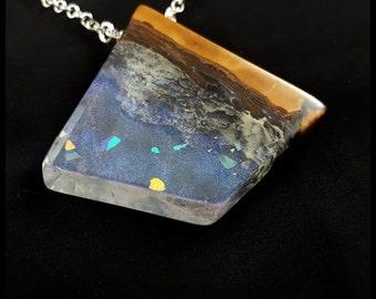 Diamond Opal wood, wood resin,unique gift, handmade jewelry, opal iridescence, birthday gift, statement necklace, modern jewelry-OD003