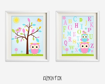 Owl wall art - pink owl nursery art - kids wall art - Nursery Decor - owl wall print - letters nursery art - owl letter wall art