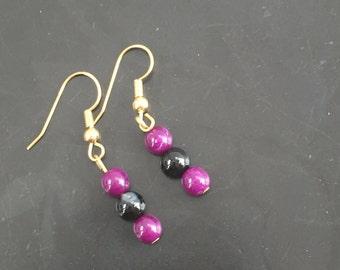 Black and Purple Beaded Earrings