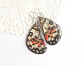 Butterfly wing earrings look like real butterfly Gift sister Dangle transparent earrings Tiger jewelry Epoxy resin Mom gift from daughter