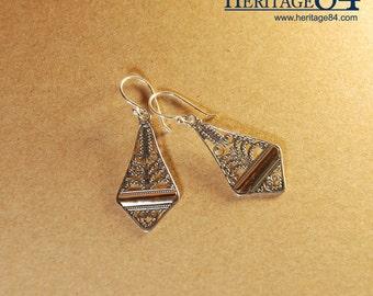 Sterling Silver earrings, sterling silver drop and dangle earrings, bridesmaid earrings, gold earrings dangle in handmade hook earrings