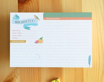 12 Primavera Recipe Cards, 4x6, two sided, eco friendly, ultra heavy cardstock. Great Mothers Day Gift!