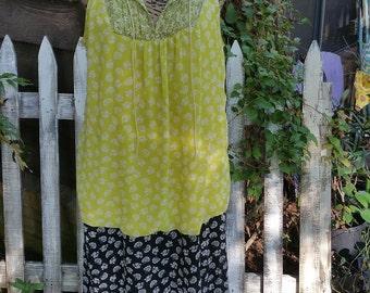 Boho Lime and Black Floral Dress