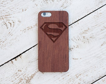 Superman, Wood Case, iPhone 8, iPhone X, 7, 7 Plus, 6s, 6 6 Plus, 5s, 5, SE, Samsung Galaxy S8, S7, S6, Cover, Engraved #4077
