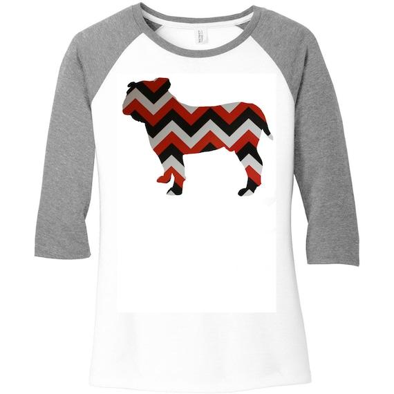 Georgia Bulldog Red, White & Black Chevron Design, Sports, Baseball Raglan 2 Tone 3/4 Sleeve Womens Shirt in Sizes Small-4X, Plus Size