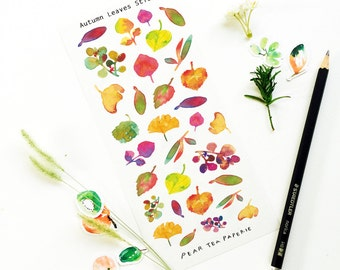 Fall Leaves Painting Stickers, Ginko Stickers, Planner Stickers, Plant Stickers, Erin Condren, Scrapbook, Fall Leafs, Autumn, Filofax