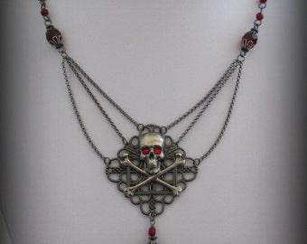 WRAITH Neo-Victorian Dark Ruby & Gunmetal Filigree Skull Necklace