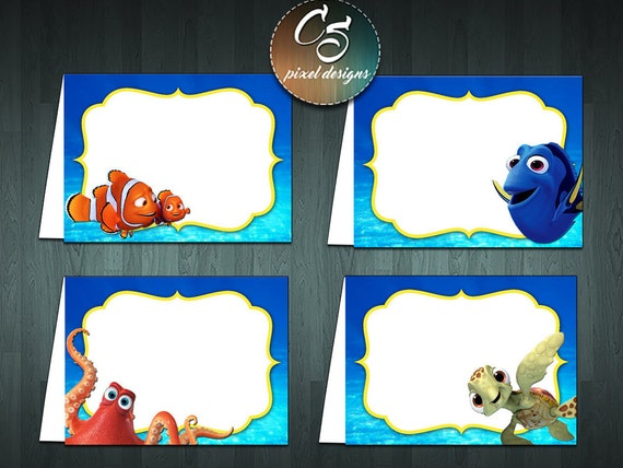 finding dory food tent cards 4 blank digital item no