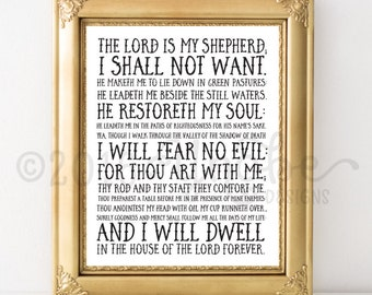 Psalms 23, 23rd Psalm, Love, Printable, Wall Art, 8x10, 5x7, Scripture, Bible Verse, Spritual, Motivational, Inspirational, Empowerment