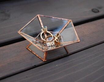 Pentagon Ring Dish / Geometric Glass Box / Jewelry Dish / Handmade