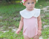 Boho Bubble Romper, Peter Pan Collar Bodysuit, Vintage Indie Hipster Baby Girl, Newborn Toddler Playsuit Bib Neck Sunsuit, Pink White Pastel