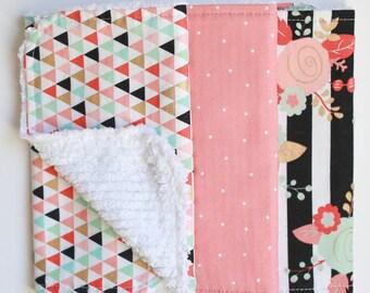Burp Cloths - Burp Rags - Floral Coral Pink Black