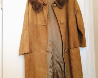 Authentic 1960s Suede Coat - Mustard Color