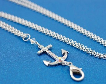 Nautical Anchor Interchangeable Silver Lanyard Badge Holder Necklace
