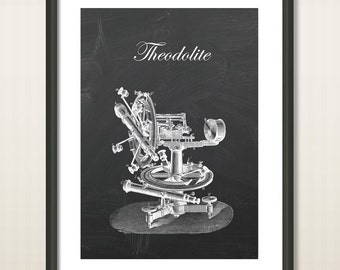 Theodolite Instrument Poster Print, Optical Instrument Wall Art , Astronomy, Navigation, Topography, Insdustrial Decor