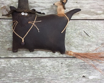 Primitive Halloween Witch Cat & Mouse,Halloween Cat Shelf Sitter, Primitive Witch Cat Cupboard Tuck, Halloween Door Greeter,Halloween Decor