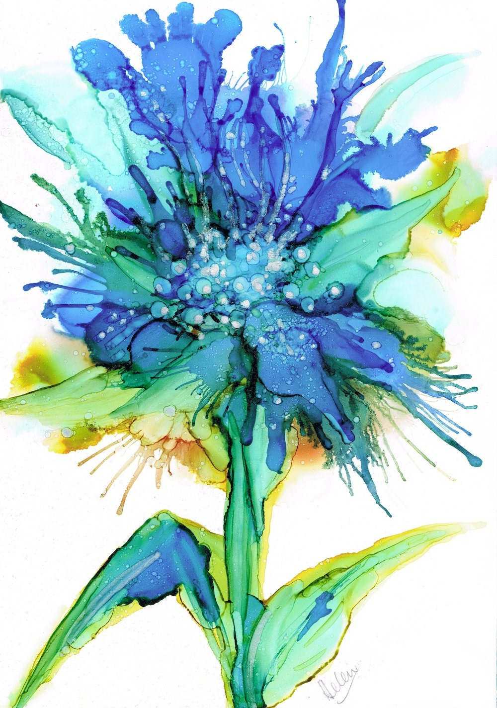 Blue Fire Alcohol Ink Painting Art Print