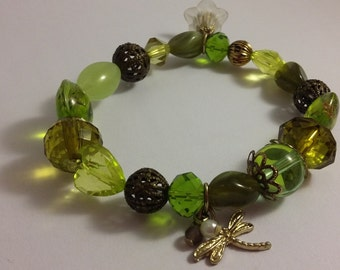 Intricate Green and bronze bracelet