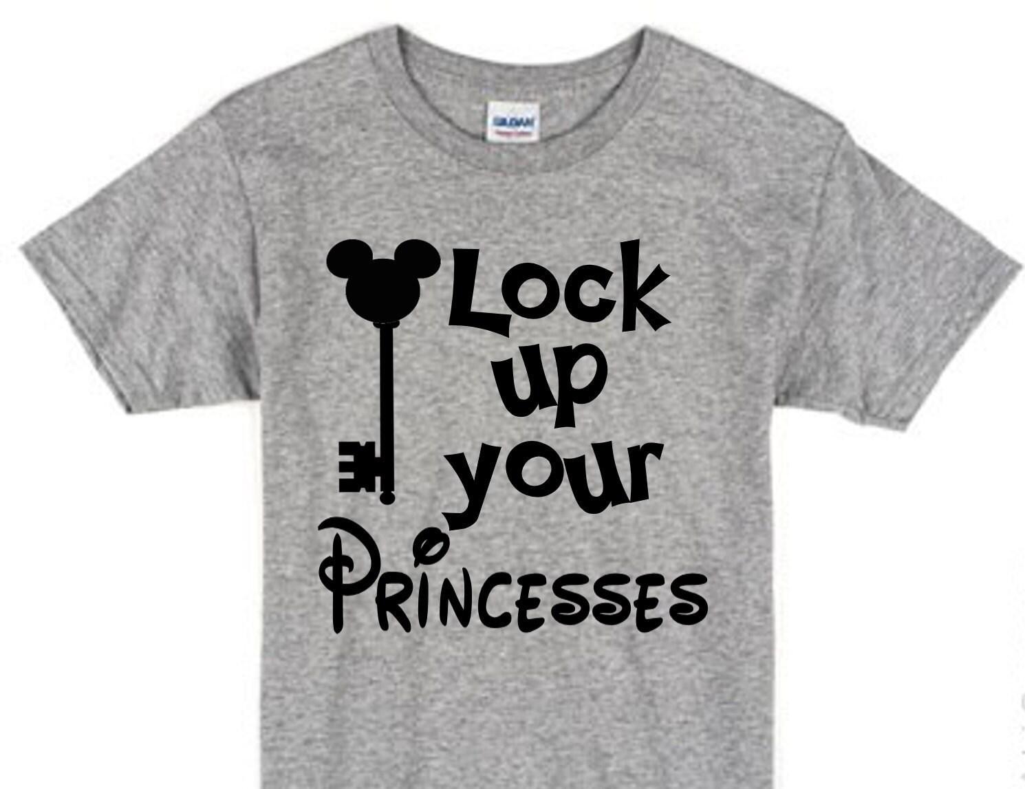 lock up your princesses boys disney t shirt by brightdesignsco. Black Bedroom Furniture Sets. Home Design Ideas