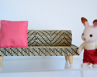 Modern Miniature Rattan Sofa 1/12 scale collectible