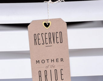 SET OF 4: Wedding Ceremony Reserved Tags, Reserved Chair Signs, Wedding Reserved Signs
