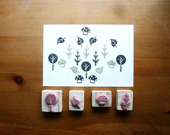 Nature Stamp Set, Mounted, Hand Carved