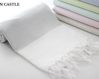 Midilli   Turkish Bath Towel   Light Gray   Turkish Towel   Peshtemal Towel   Beach Towel   Bathroom   Cotton   Peshtemal   Highly Absorbent