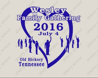 16 Pack Custom Family Reunion T-Shirts / Family Gathering / Heart
