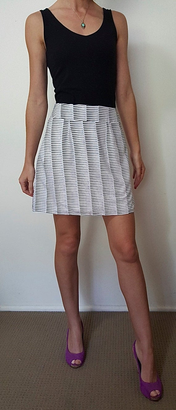 black and white a line skirt by theloudedge on etsy