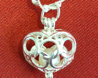Circled Heart Pearl Cage Locket Pendant